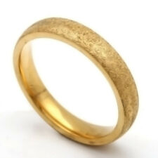 Vintage style Scrub Band Ring Stainless Steel 14k Yellow Gold Plated 7 8 9 10 11