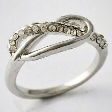 New Style Womens W- Gold Filled Clear CZ Band Love Ring Size 5-7 9 10