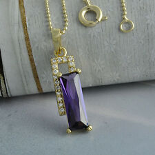 Swarovski Crystal 18K Gold Filled Womens Pendant Chain Necklace Long 18 in