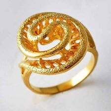Fashion Snake type Flower Womens Ring jewelry Yellow Gold Filled Size 6 7 8 9