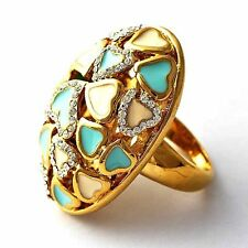 vintage heart Blue White Enamel Yellow gold filled Womens Band Ring Size 7 8 9