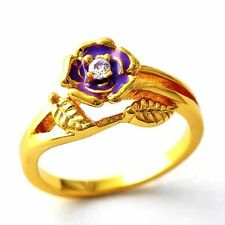 fashion Clear CZ  Purple Enamel Flower Band Ring Gold Filled Size 8 9 10 12