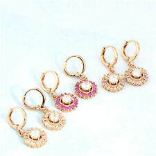 Deluxe 18k Rose Gold Filled swarovski Crystal womens Flower dangle earrings