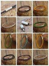 hot stainless steel 3mm Braided Genuine Leather Cord Necklace/Bracelet &&