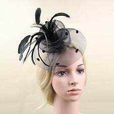 Wedding Bridal Feather Net Hair Clip Fascinator Mini Top Hat Party Headpiece