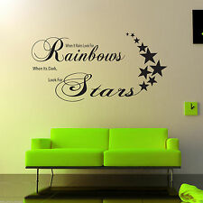 Rainbows Stars wall Art Sticker Lounge Room Quote Decal Mural Stencil Transfer