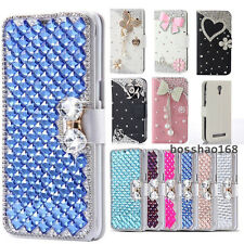 Bling Crystal Diamonds Bow PU leather flip slots stand wallet cover case skin #1