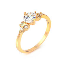 Fashion Yellow Gold Plated Round Cubic Zirconia Promise Love Band Ring