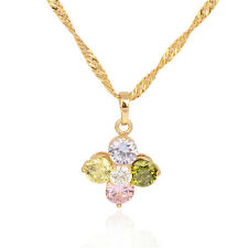 18K Gold Plated Multicolor CZ Circle Flower Pendant For Long Chain Link Necklace
