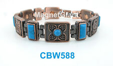 Turquoise Gemstone - Women Copper link high power magnetic bracelet CBW588