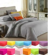 Solid Bed Duvet Cover Quilt Cover And 2 Pillowcases Set  Single Queen King Size