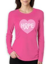 Hope Breast Cancer Awareness Heart Shaped Pink Ribbon Women Long Sleeve T-Shirt