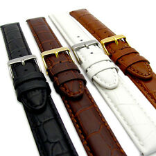 Fine Italian Padded Croc Grain Leather Watch Strap Extra Long XL 4 Colours