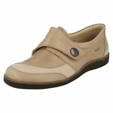 LADIES SUAVE BEIGE/STONE LEATHER SHOES WITH STRAP LAURA