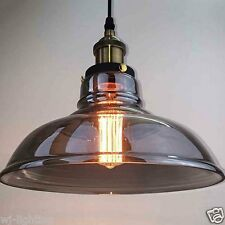 LED Grey Glass Shade Vintage Retro Ceiling Chandelier Pendant Lamp Light Fitting