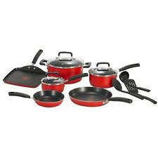 T-fal 12-Piece Signature Total Non-Stick Cookware in Red Free Shipping New