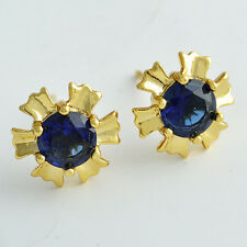 18K Yellow Gold Filled Rainbow crystal Crystal Womens Sunflower Stud Earrings