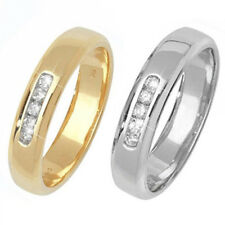 9ct Wedding Ring Yellow Or White Gold Diamond Channel Set