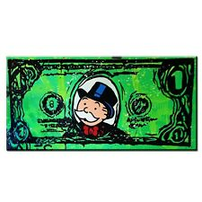 Alec Monopoly- Dollar Hand Painted Canvas Oil Painting Abstract Wall Art 24x48in