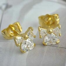 Classic Bow 18K Yellow Gold Filled crystal Crystal Women Heart Stud Earrings