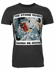 AMPLIFIED THE STONE ROSES WANNA BE ADORED MEN'S CHARCOAL  T-SHIRT
