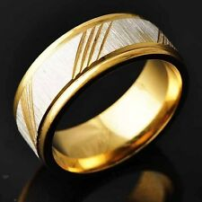 Mens Yellow Silver Gold Filled Carved Twill mystic Band Ring Size 8 9 10 11
