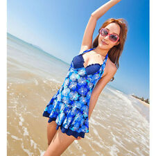 Sexy Halter One Piece Open Back Swimsuit Bandage Floral Ruffle Bathing Swimdress