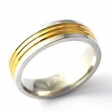 Eternity Mens Stainless Steel Gold Plated couple Band Ring Size 8 9 10 11 12