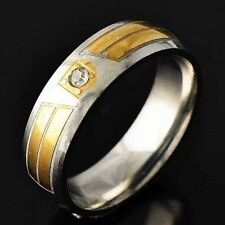 Wedding Womens Stainless Steel Gold Plated Clear Crystal love Ring Size 8-11