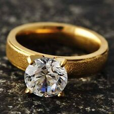 Vintage Womens Yellow stainless steel Crystal engagement Ring Size 6 7 8 9