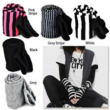 Lady Stretchy Soft Arm Warmer Long Sleeve Fingerless Gloves - Black FK