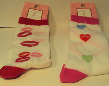 Womens Happy Valentine Socks Red White Pink Hearts Lips Socks Hoisery Size 9-11