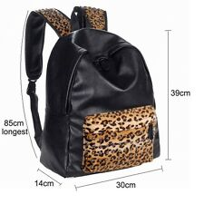 Fashion Womens PU Leather Leopard Stud Black Backpack Book School Shoulder Bag