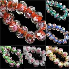 10pcs Rondelle Faceted Glass Rose Flower Lampwork Loose Glass Beads 8 10 12mm