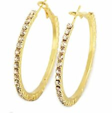 Vintage Big Large 18K Gold Filled Crystal Womens Hoop Earrings Earings 45mm/55mm