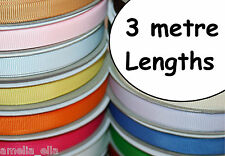 "3 metres GROSGRAIN RIBBON - 10mm (3/8"") width - Various Colours - Best Quality"