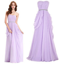 Strapless Chiffon Gown Evening Prom Party Dress Wedding Bridesmaids Homecoming
