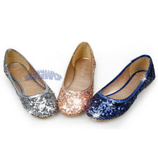 Women/Lady Sequin Ballerina Ballet Dolly Pump Shoes Flat Casual Loafer Bling New