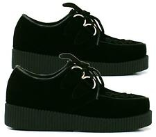 NEW WOMENS BLACK PLATFORM LACE UP LADIES FLATS CREEPERS PUNK GOTH SHOES SIZE 3-8