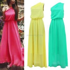 Fashion Women One Shoulder Chiffon Long Slim Evening Party Formal Prom Dress S-L