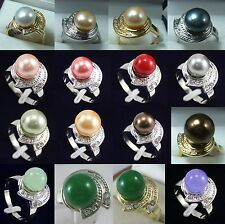 fashion 10mm white pink red green yellow coffee shell pearl jade 18 KGP ring