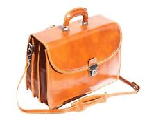 Italian Handmade Leather Briefcase Handcrafted In Florence Italy 7603