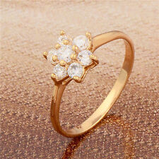 Gorgeous 18K Yellow Gold Filled Swarovski Crystal Womens Flower Ring,Size 6,7,8