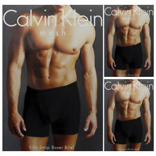 3pk Calvin Klein Men's 100% Cotton Mesh Side Snap Boxer Brief Shorts Underwear