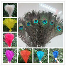 10/50pcs Peacock Tail Eyes Feathers 10-12Inches /25-30cm For Prom DIY Decoration