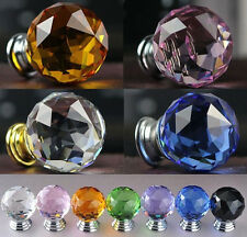 30mm Round Crystal Glass Cabinet Drawer Wardrobe Door Pull Handle Knobs 6 Colors