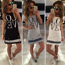 Women Lady Fashion LOVE Letter Print T-Shirt Mini Short Loose Shirt Casual Dress
