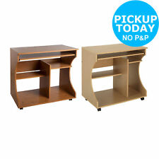 Curved Easy Move and Wire Access Computer Desk Trolley - Beech/Pine -From Argos
