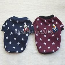 Pet Dog T Shirt Round Neck and Sleeved Design Clothes Doggy Apparel Star Prints