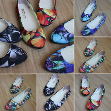 Casual Womens Printed Floral Flat Ballerina Pumps Ballet Loafers Shoes Slippers